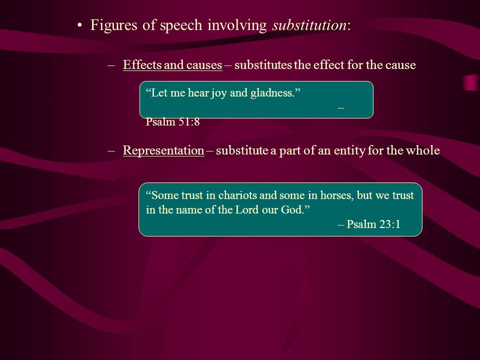 Figures of speech involving substitution: