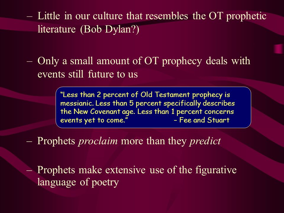 Prophets proclaim more than they predict
