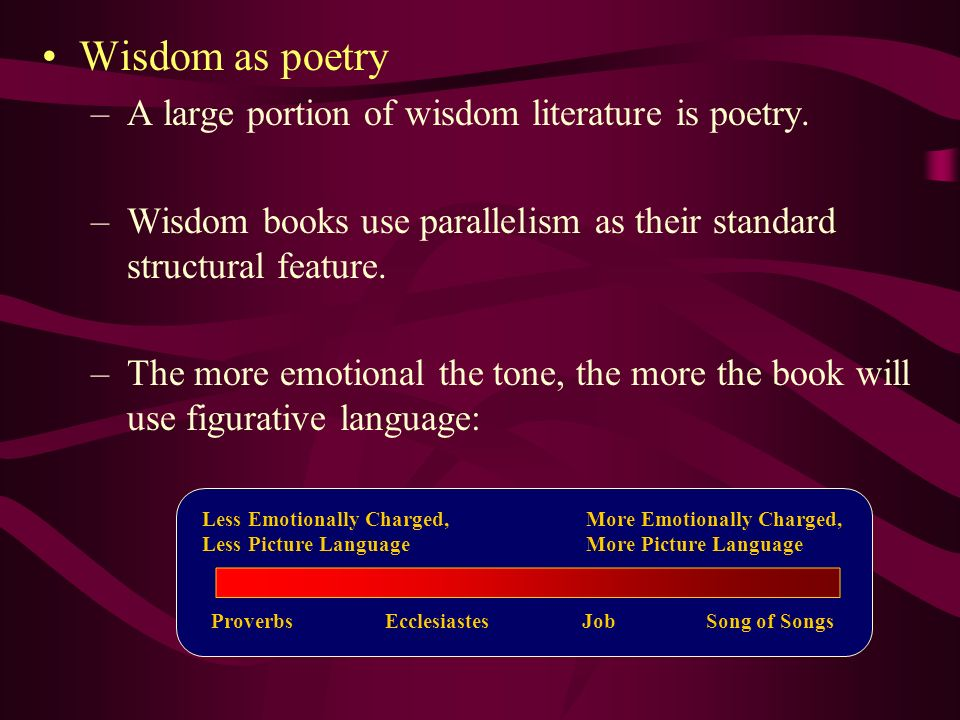 _ Wisdom as poetry A large portion of wisdom literature is poetry.