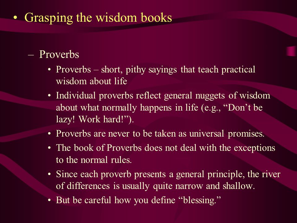 Grasping the wisdom books