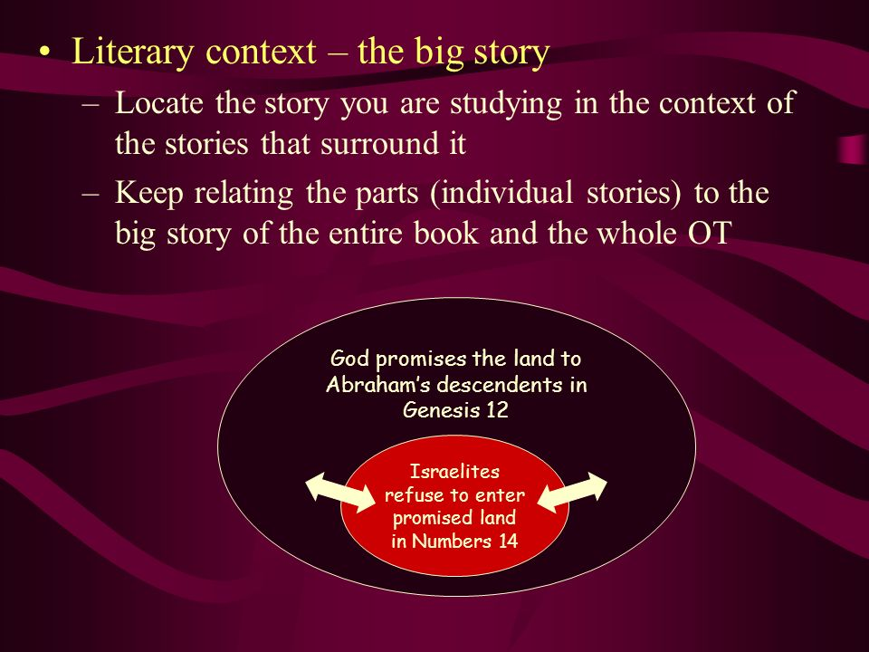 Literary context – the big story