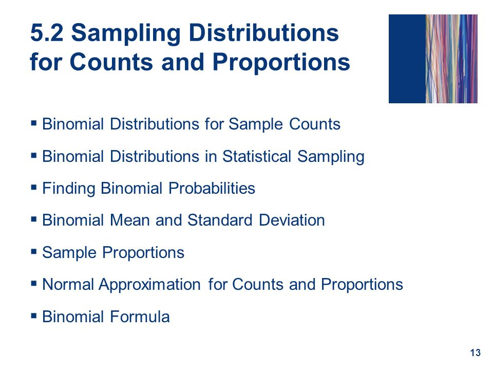 5.2 Sampling Distributions for Counts and Proportions