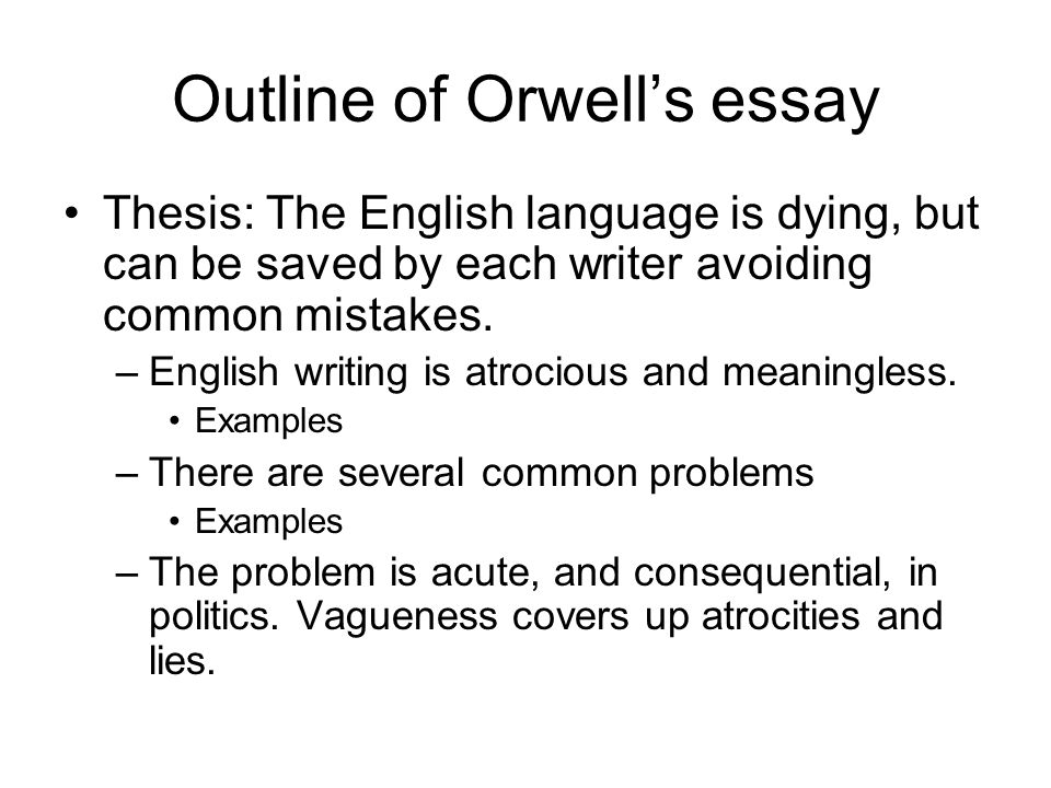 thesis in politics and the english language