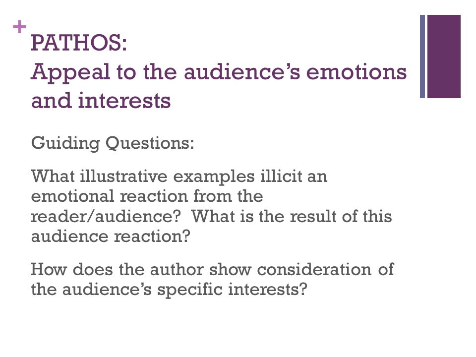 PATHOS: Appeal to the audience's emotions and interests