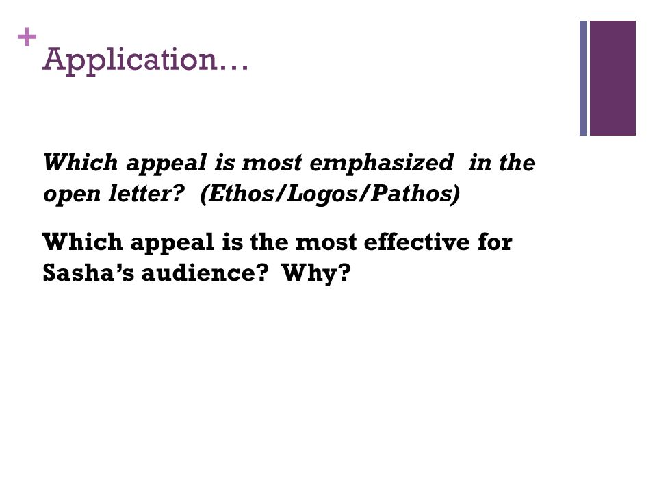 Application… Which appeal is most emphasized in the open letter (Ethos/Logos/Pathos)