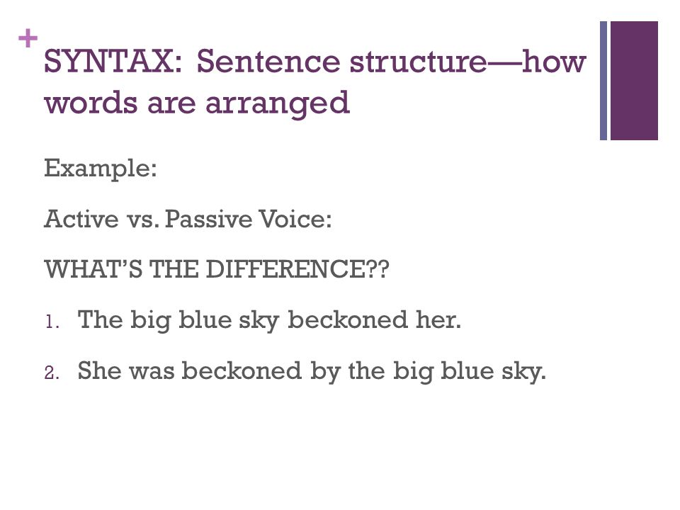 SYNTAX: Sentence structure—how words are arranged