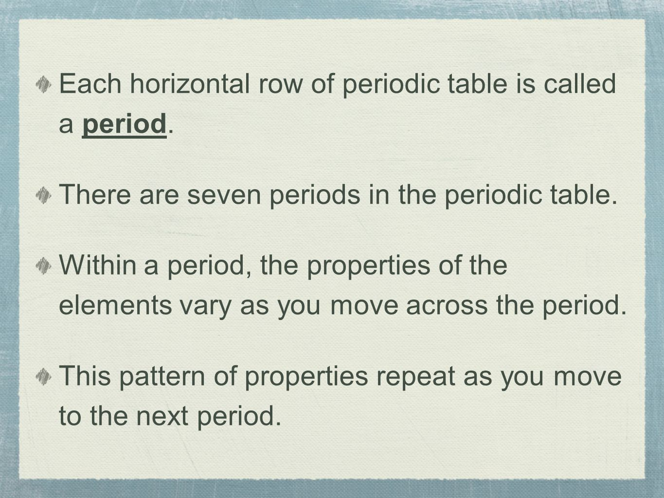 Chemistry chapter 2 introduction to chemistry matter and change each horizontal row of periodic table is called a period gamestrikefo Choice Image