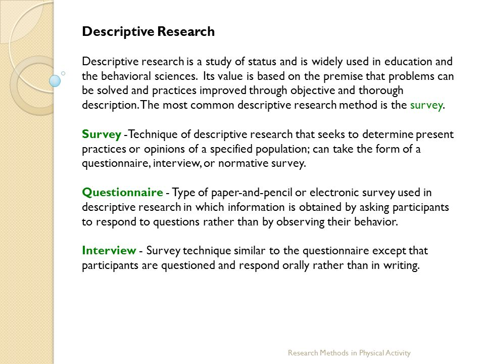 Descriptive method on thesis