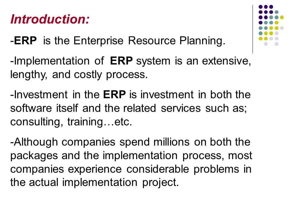 Enterprise resource planning implementation