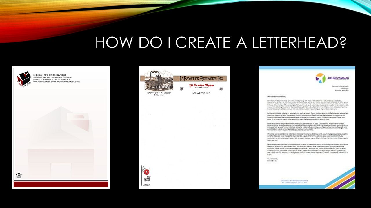 How Do I create a letterhead