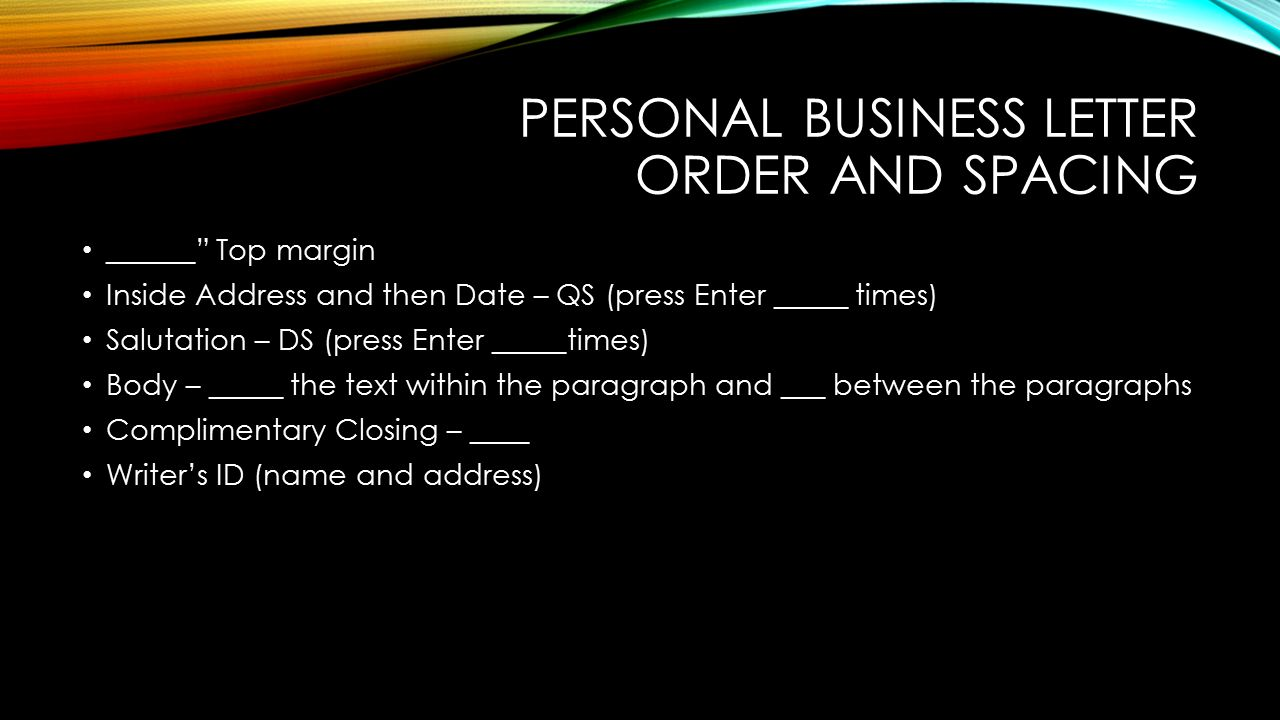Personal Business Letter Order and Spacing