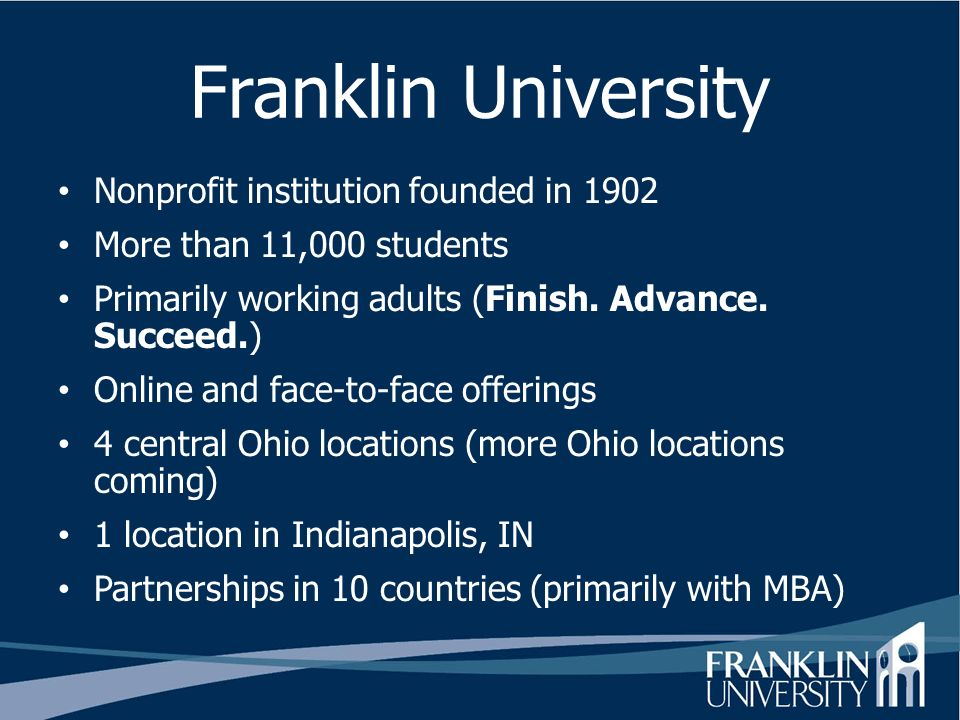Franklin University Nonprofit institution founded in 1902