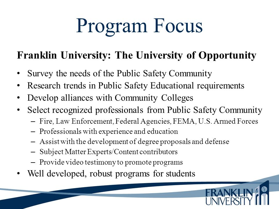 Program Focus Franklin University: The University of Opportunity
