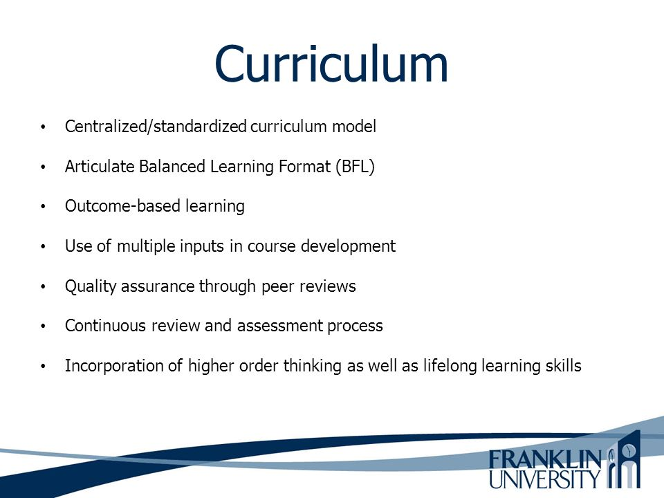 Curriculum Centralized/standardized curriculum model
