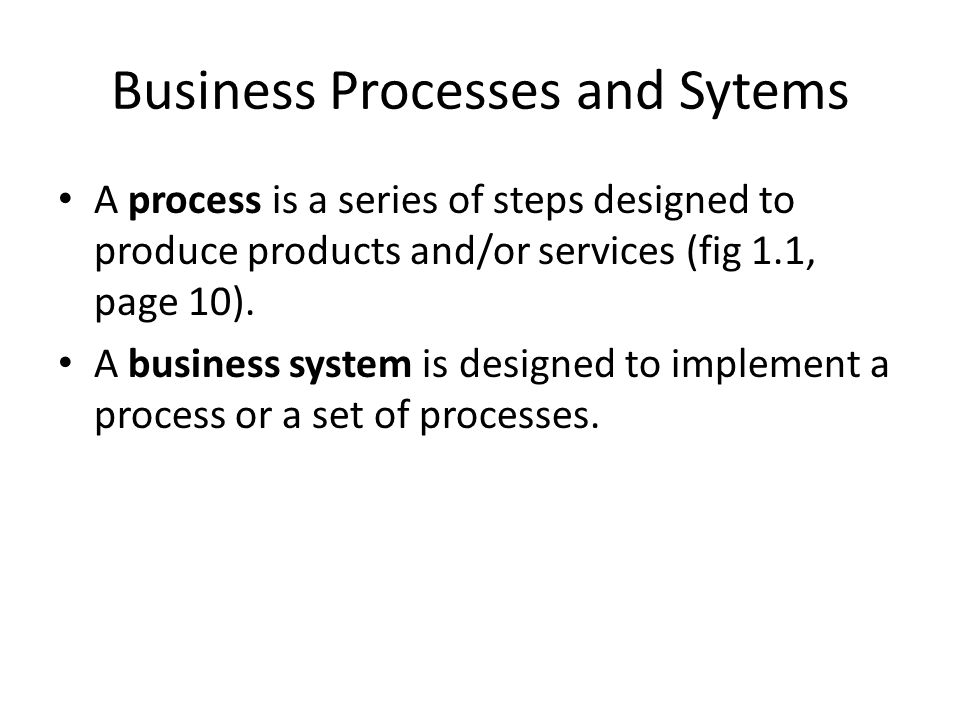 Business Processes and Sytems