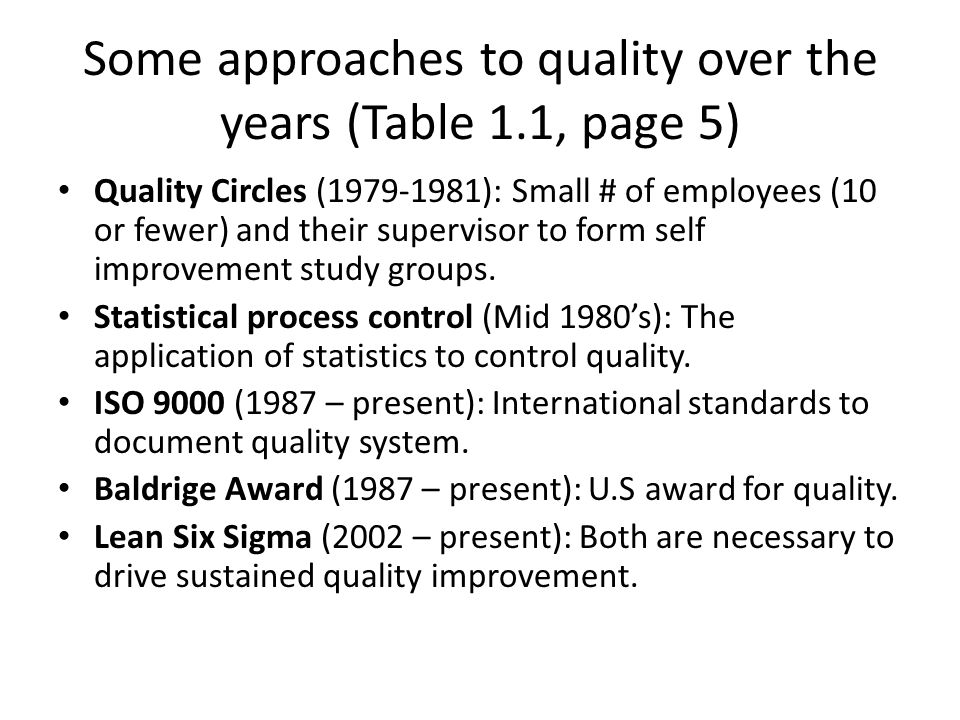 Some approaches to quality over the years (Table 1.1, page 5)