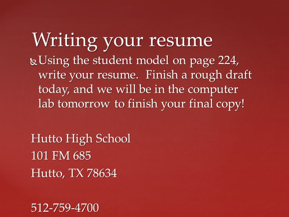 11 Writing Your Resume ...