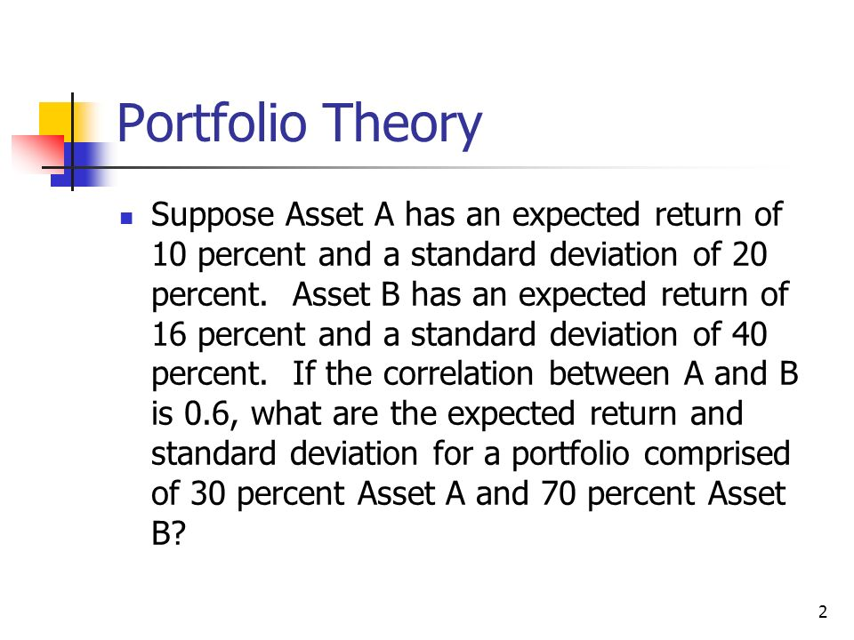 risk and return portfolio theory and