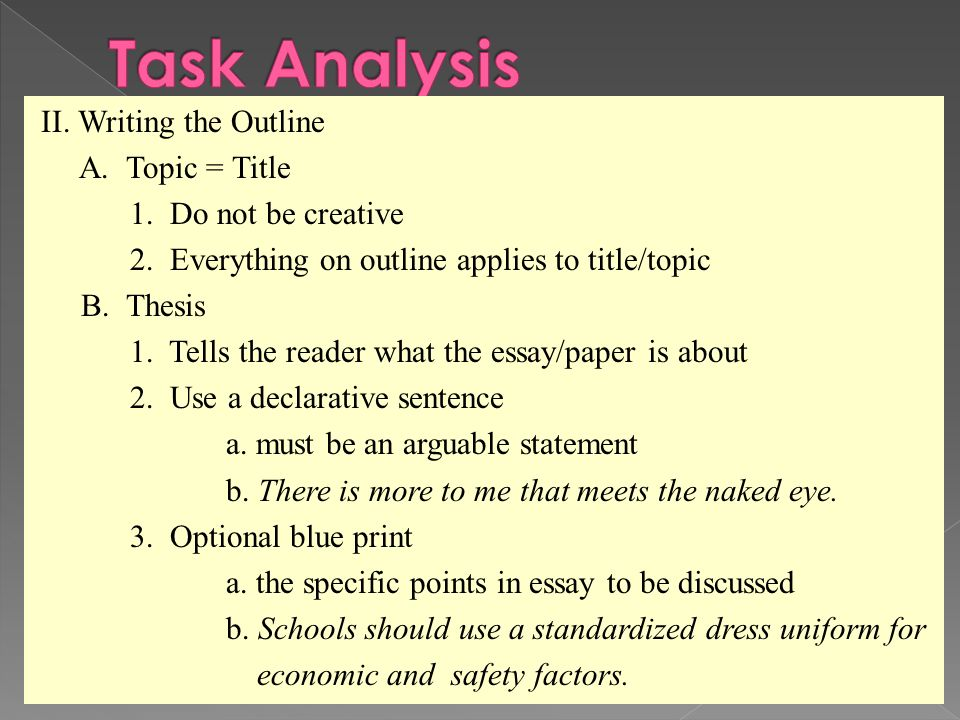 how to write a outline for an essay The basic outline of a paper the following outline shows a basic format for most academic papers write an antithesis paragraph .