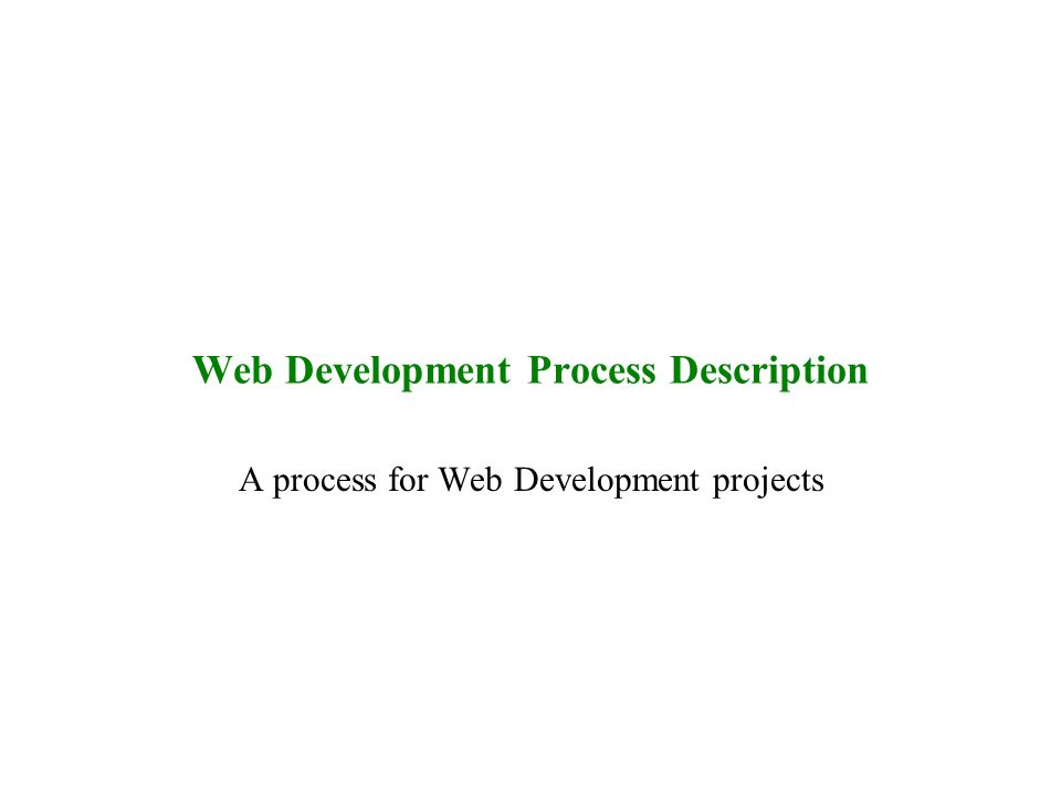 Web Development Process Description