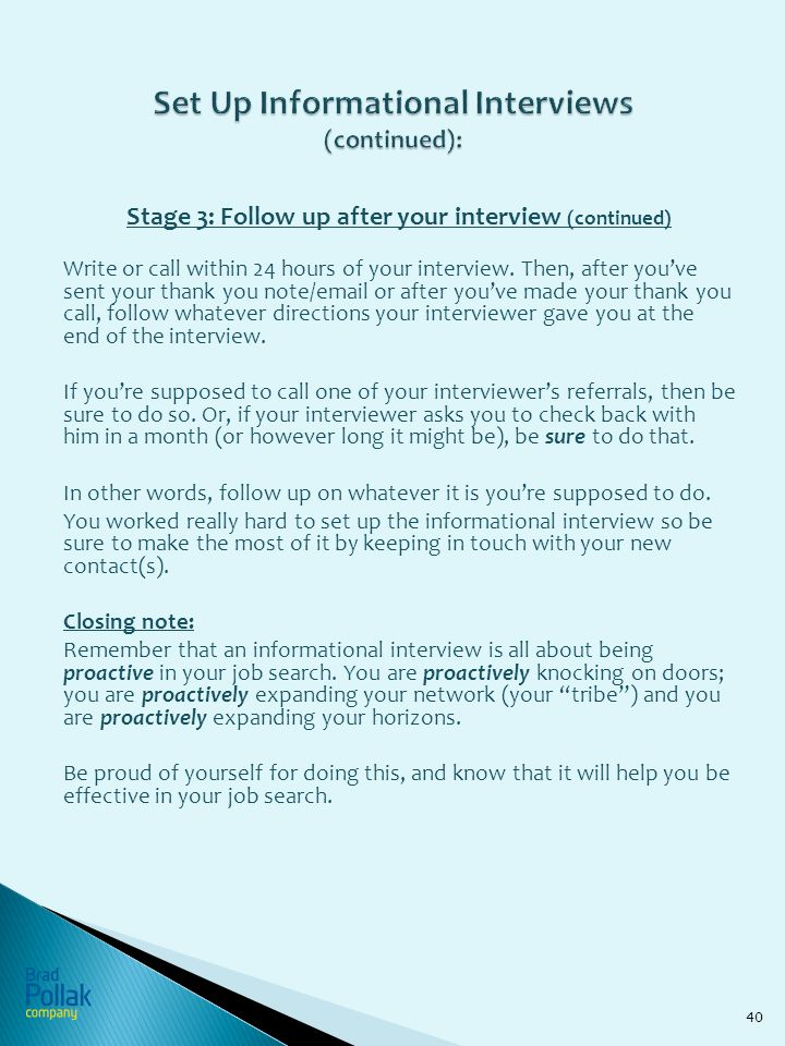set up informational interviews continued - How Long After An Interview Should You Hear Back Or Follow Up With A Call