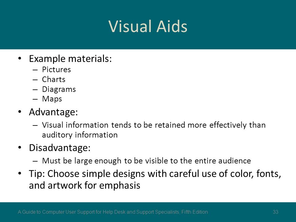 advantage of visual aids This page describes how the use of visuals and objects of reference can enhance communication.