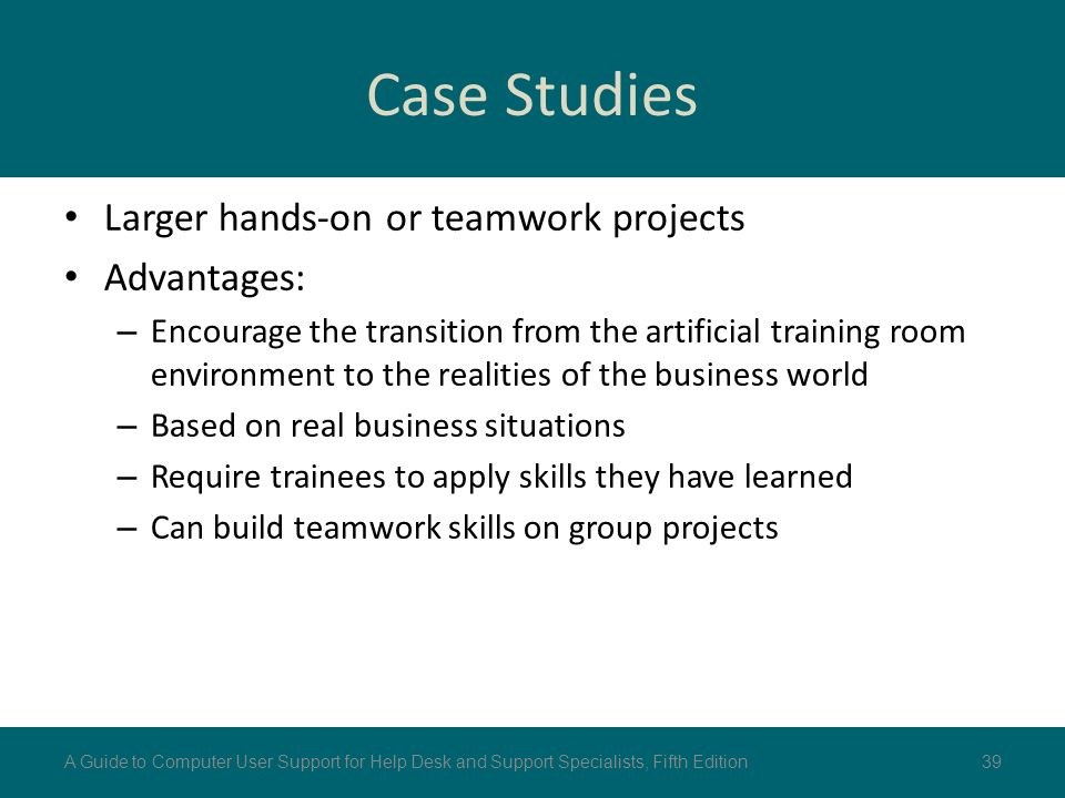 teamwork case studies Case studies depict real-life situations in which problems need to be solved scenario-based teaching may be similar to case studies, or may be oriented toward developing communication or teamwork skills both case studies and scenarios are commonly used methods of problem-based learning typically.