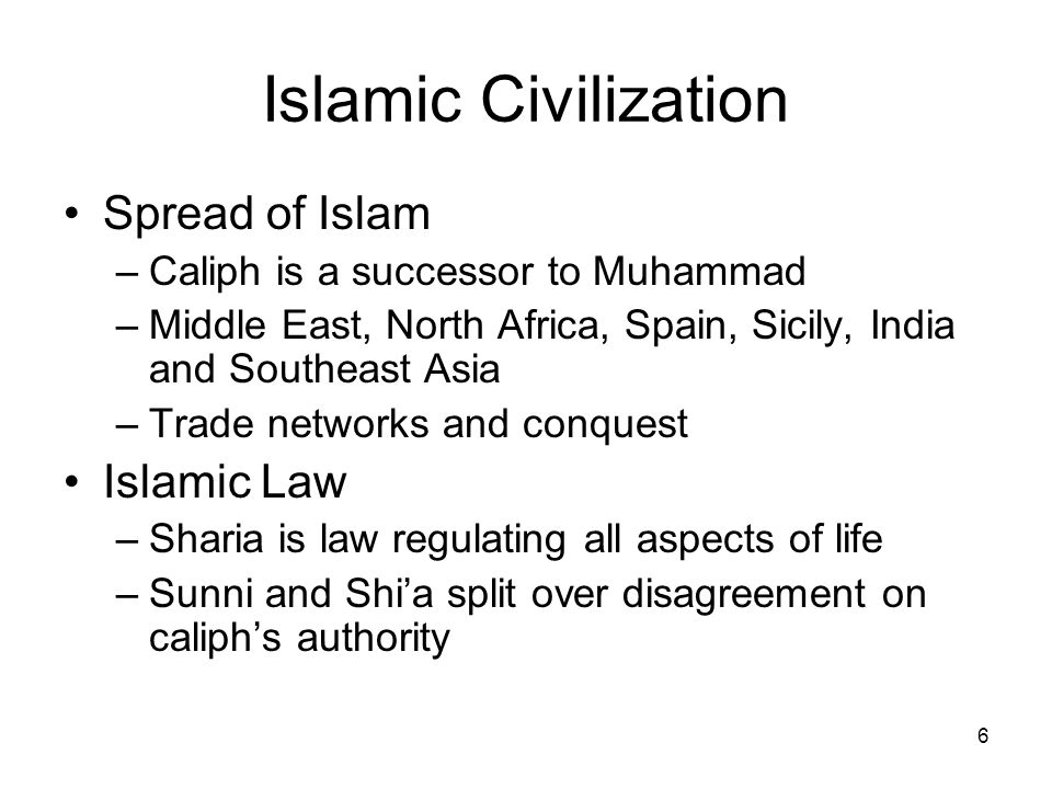 Islamic Civilization Spread of Islam Islamic Law