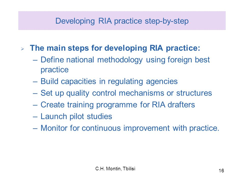 Developing RIA practice step-by-step