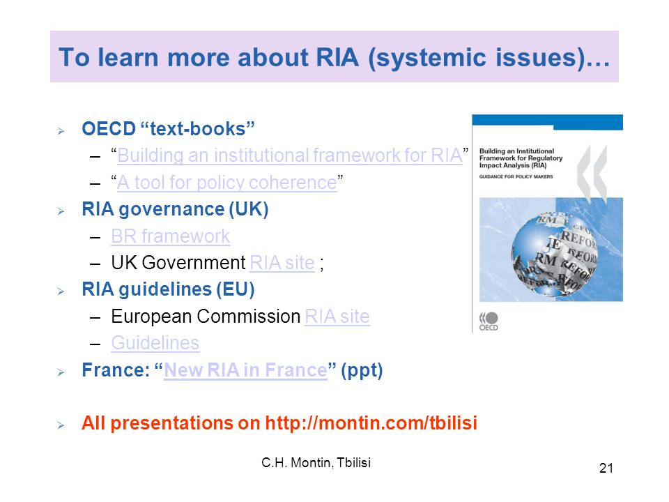 To learn more about RIA (systemic issues)…