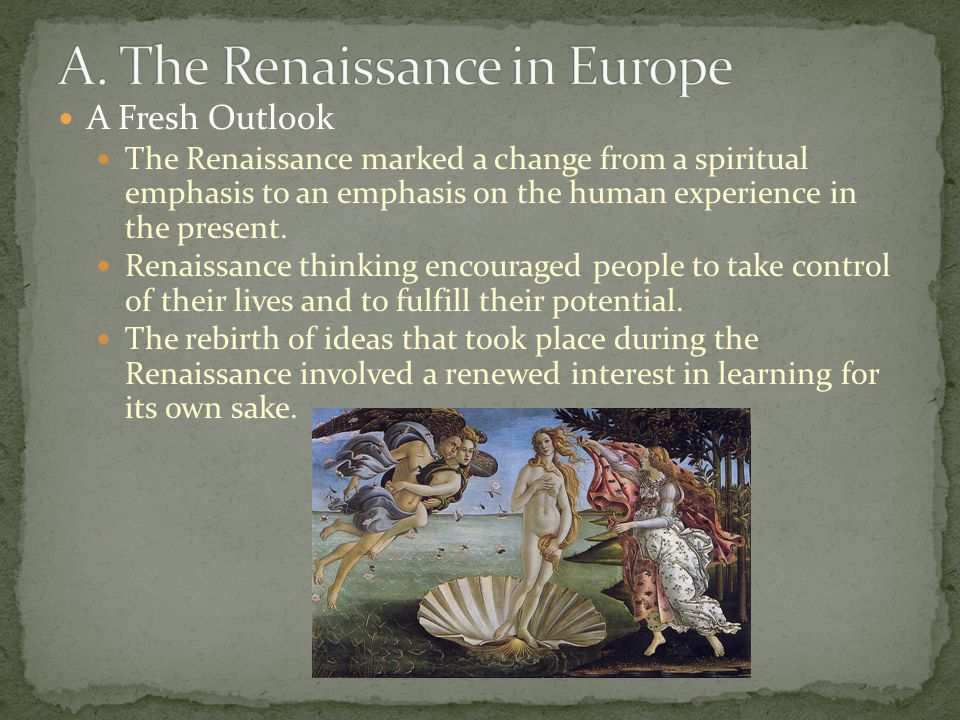 an overview of the renaissance in europe The renaissance was a period of time from the 14th to the 17th century in europe this era bridged the time between the middle ages and modern times the word renaissance means rebirth the middle ages began.