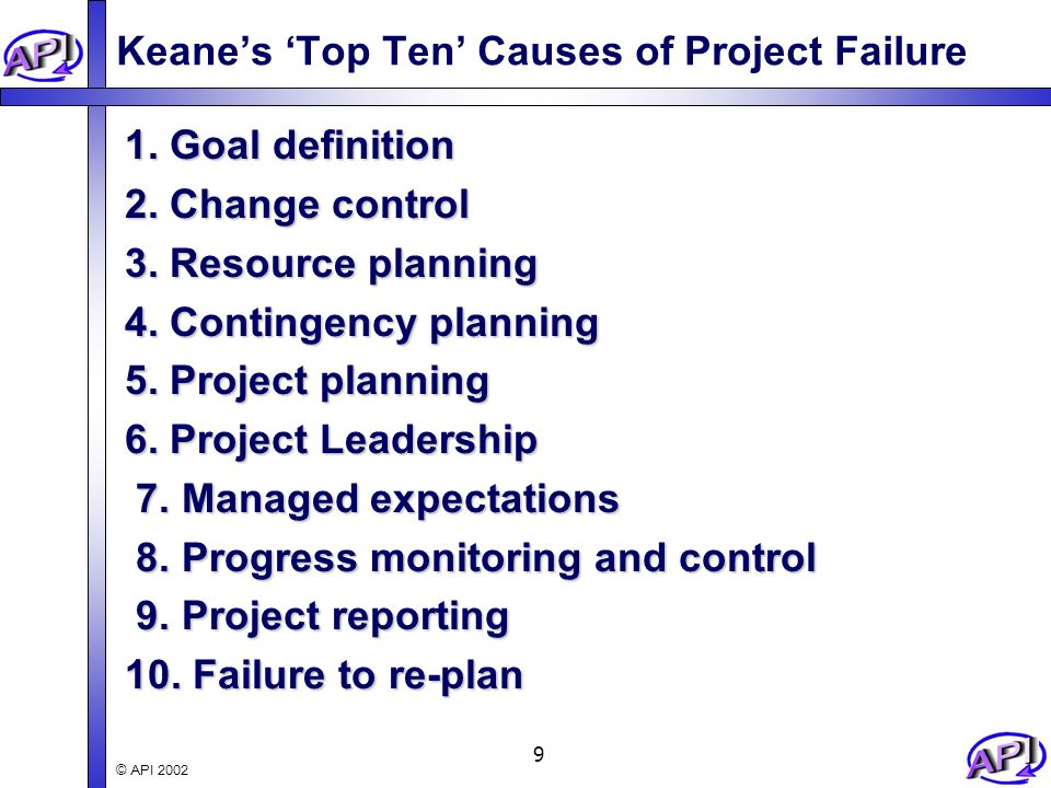 top 1 cause for project failure The same enterprises agonize over the causes of project failure, call in  to the  web poll cited poor communications as the number one cause of project failure.