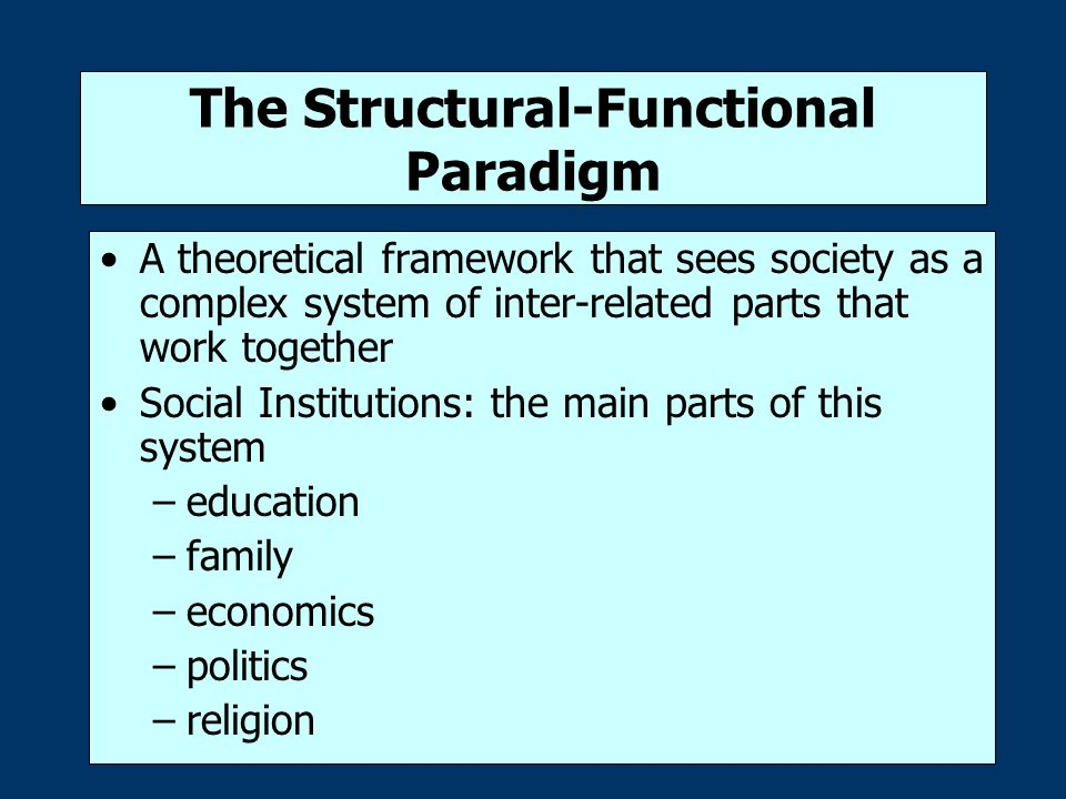 the school system and the social paradigms of structural function social conflict and symbolic inter Another framework sociologists use to understand the world is the structural functional theory its central idea is that society is a complex unit, made up of interrelated parts sociologists who apply this theory study social structure and social function french sociologist émile durkheim based.