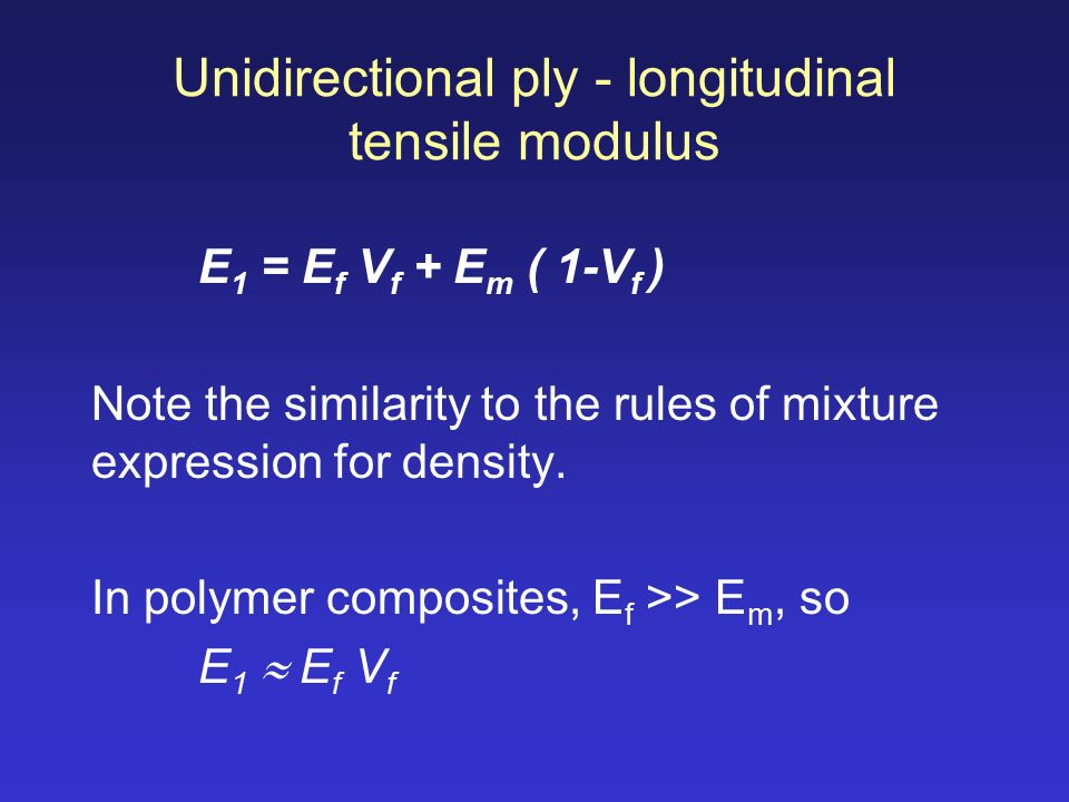 rules of mixtures for elastic properties Combined on a macroscopic scale, so that the properties of composite are  different (usually  the rule of mixtures is used to predict the modulus of  elasticity.