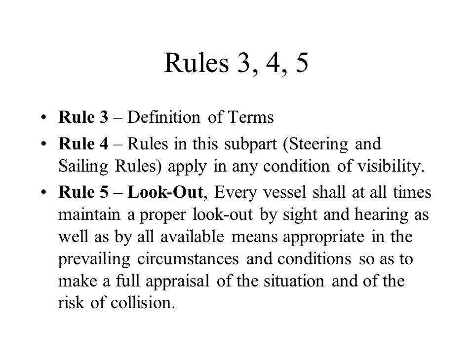 72 colregs where they apply an acronym for collision for Rule of three meaning