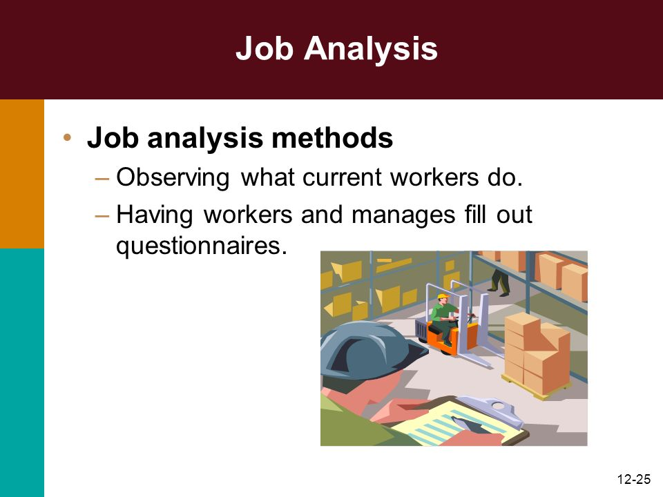 Job Analysis Job analysis methods Observing what current workers do.