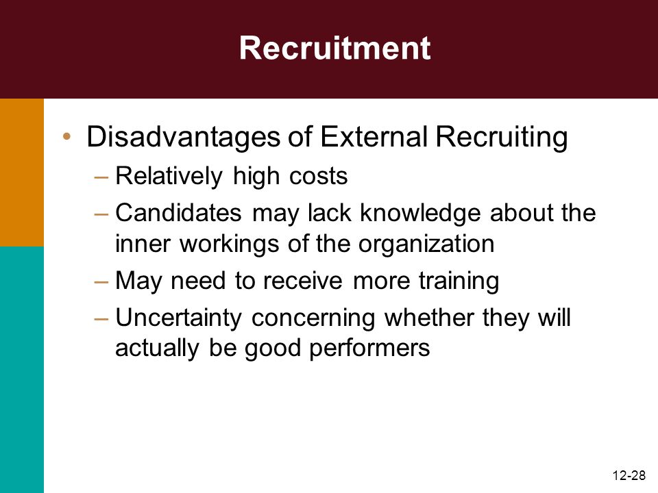 Recruitment Disadvantages of External Recruiting Relatively high costs