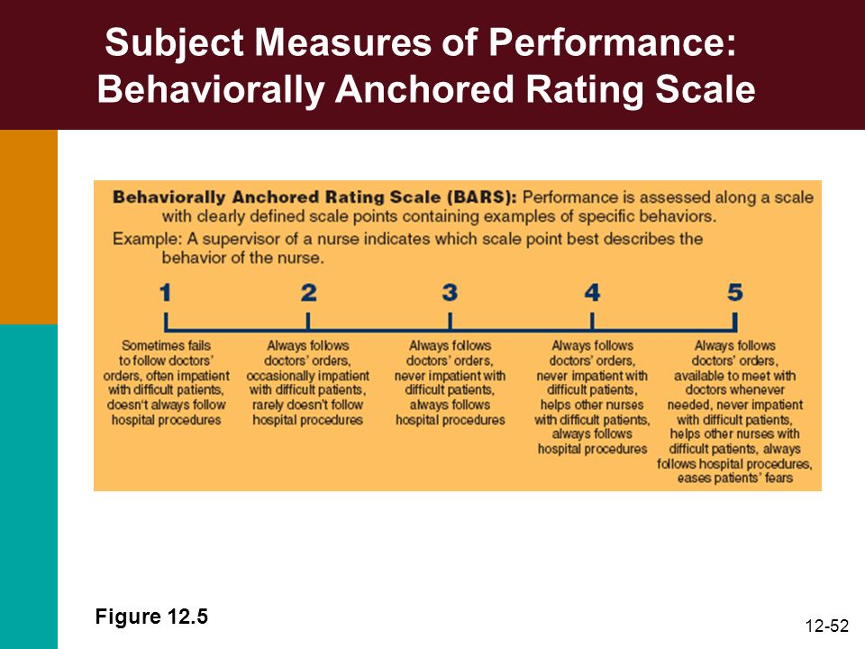 Subject Measures of Performance: Behaviorally Anchored Rating Scale
