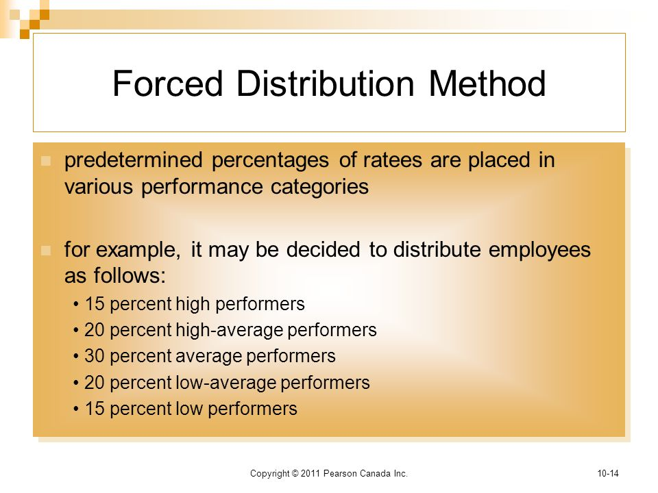 """forced distribution method According to the practice of """"forced ranking,"""" in order to develop, a company has to identify its best and worst performers and then """"nurture"""" the winners and rehabilitate/discard the """"losers"""" while this concept makes sense, its implementation poses great risks, because many companies use the bell curve to."""