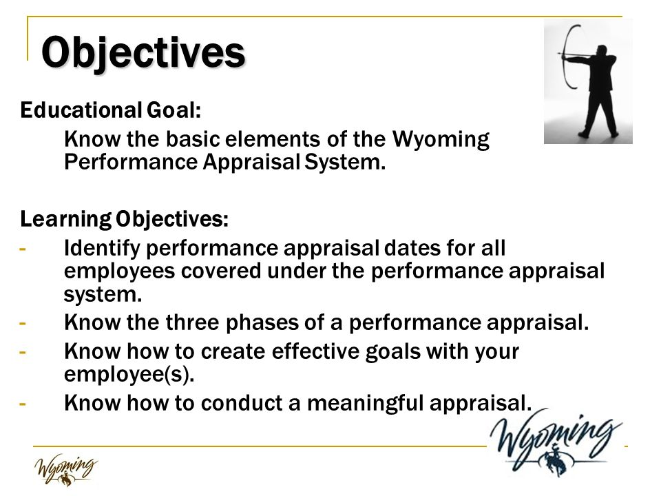 objectives of performance appraisal Objective perceived weaknesses related to realization of the objective planning work and setting work expectations: the present system of appraisal is not based on monitorable inputs (relationship to accomplishment of an agreed work plan).
