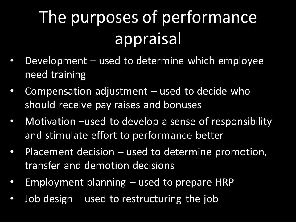 an introduction to the purpose of performance appraisals Role of performance appraisal system on employees motivation  we examine how performance appraisals  i introduction.