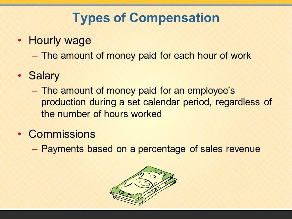 Types of Compensation Hourly wage Salary Commissions