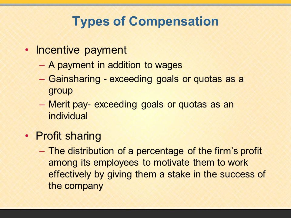 Types of Compensation Incentive payment Profit sharing