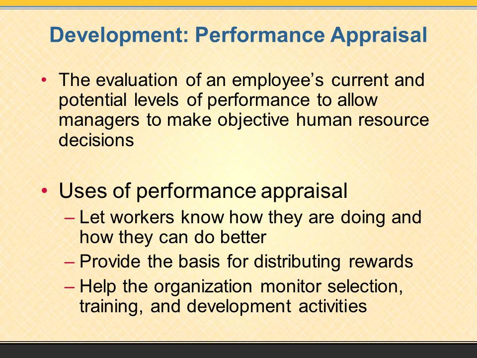 Development: Performance Appraisal
