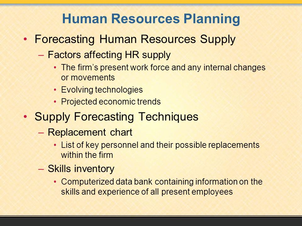 past present and future factors affecting human resource planning Human resource planning is a process that identifies current and future human  resources  the three key elements of the hr planning process are forecasting  labour demand,  is the economy affecting our work and ability to appeal to new  employees how is  this page was last edited on 9 august 2018, at 04:49 ( utc.