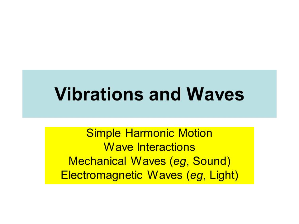 Vibrations and Waves Simple Harmonic Motion Wave Interactions