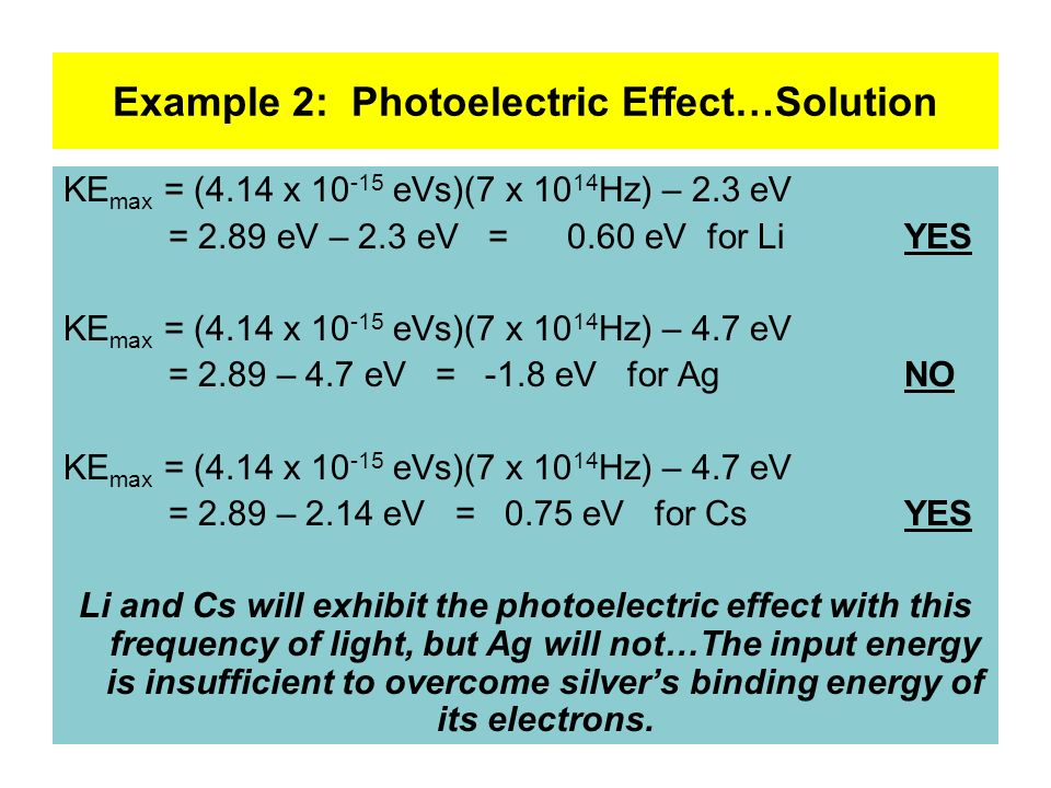 Example 2: Photoelectric Effect…Solution
