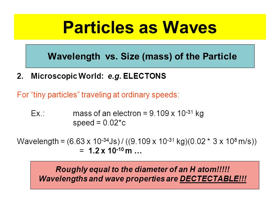 Particles as Waves Wavelength vs. Size (mass) of the Particle