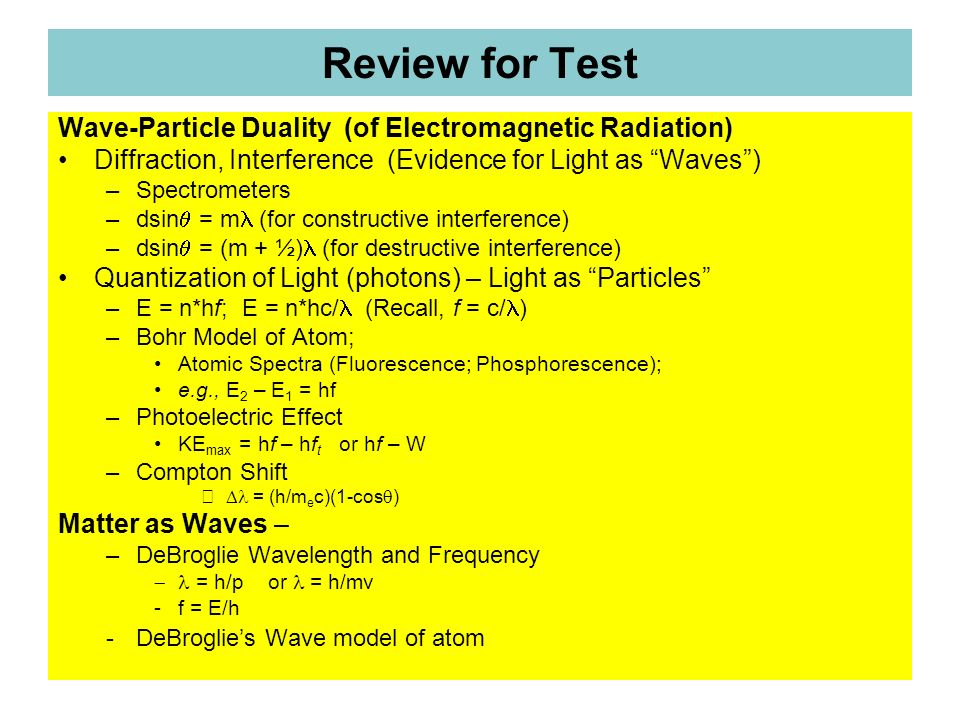 Review for Test Wave-Particle Duality (of Electromagnetic Radiation)