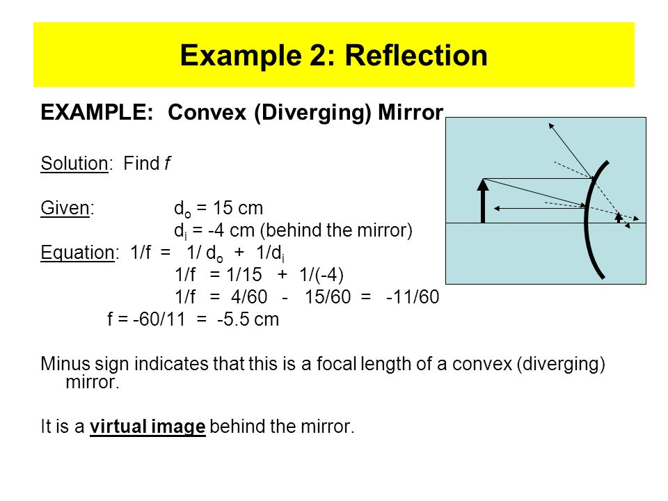 Example 2: Reflection EXAMPLE: Convex (Diverging) Mirror